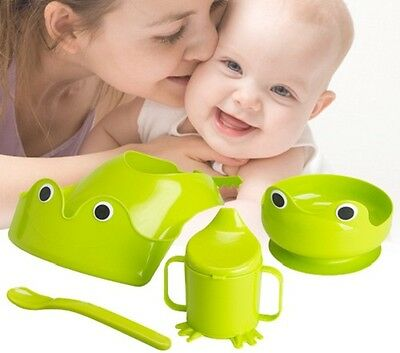 4 piece IKEA MATA Baby Kids Eating Feeding Set Bib Cup Bowl Spoon Green Frog NEW