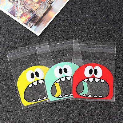 100Pcs Big Monster Plastic Holders Bake Biscuit  Cookies Candy Jewelry Bags