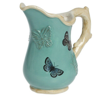 dotcomgiftshop SMALL CERAMIC BOTANICAL BUTTERFLY JUG
