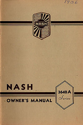 1936 Nash Six Series 3640A Owner's Manual