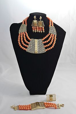 African Nigerian Wedding Party Beads Necklace Set in Wine, Blue, Peach & Purple