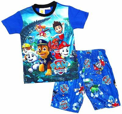 NEW Sz 2~7 PYJAMAS PAW PATROL BOYS SUMMER SLEEPWEAR PJ PJS TOP TEE TSHIRTS KID'S