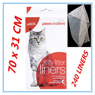 240 X Cat Kitty Litter Liners Scented Bags Liner White PAWS N CLAWS BULK BUY FD