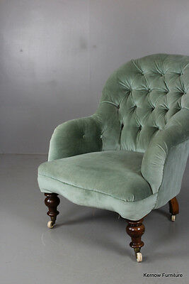 Victorian Green Button Back Armchair