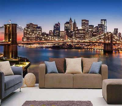 Amazing Brooklyn Bridge Full Wall Mural Photo Wallpaper Print Kids Home 3D Decal