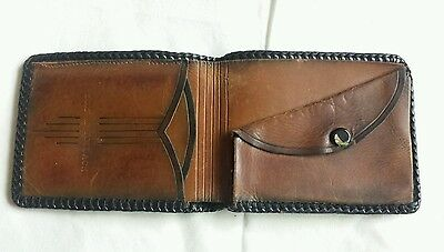 Antique Leather Handmade Billfold Coin Wallet Brown Embossed Guc