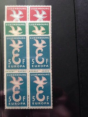 Luxembourg 1958 Europa Set SG 640/642 MNH Blocks Of 4