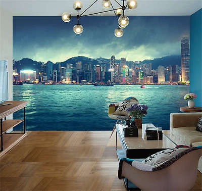 Hong Kong City Skyline Full Wall Mural Photo Wallpaper Print Kids Home 3D Decal