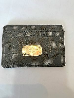 Michael Kors Jet Set Travel Brown Mini Skinny Credit Business Card Case Holder