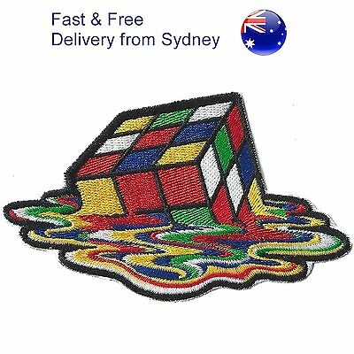 Melting Rubiks cube Iron on patch retro 80's Big bang 3D rubix puzzle patches