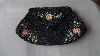Vntg French Made In France Beaded And Embroidered Black Purse Floral Motif