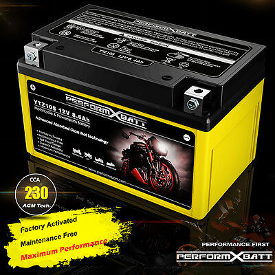 230cca AGM Motorcycle Battery YTZ10S 12V 8.6Ah Upgrades YTX9-BS Honda KTM Yanaha
