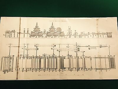 1885 LARGE Victorian original steel engraving print Industrial/Machinery