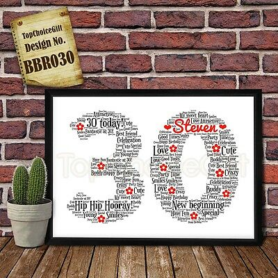 30th Birthday Personalised Present Print wordart greeting poster gift