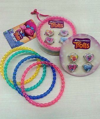 SET bracciali+anelli TROLLS DREAM WORK bigiotteria bambina in scatola