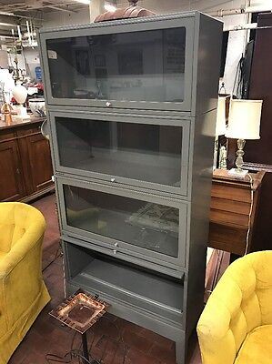 Industrial Barrister Bookcase Cabinet Metal Stacking Horizontal Unit