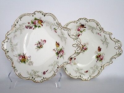 Set of 2, Antique English Fine Porcelain Hand Painted Shell Shape Dishes