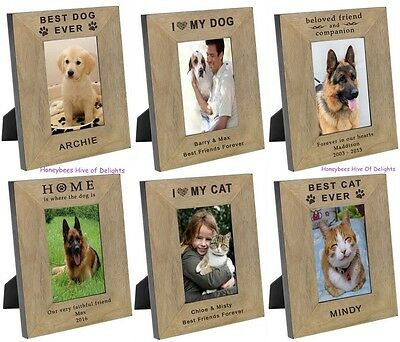 PERSONALISED Wooden Oak DOG CAT Picture PHOTO Frame Gifts Ideas For PET Lovers