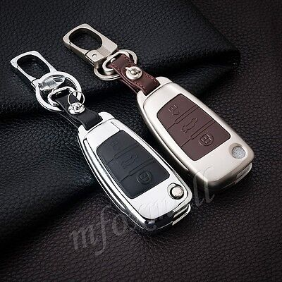 Metal Key Fob Shell Box Case Ring Holder Cover Trim For Audi A1 A3 A6 S3 Q3 Q7