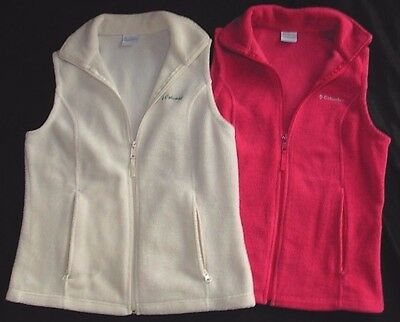 Lot Of 2 Columbia Women's Zip Up Raspberry Cream Fleece Vest Small
