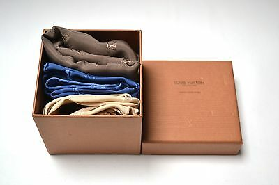 Louis Vuitton Pocket Square Set Blue Monogram 100% Silk Authentic x3 Box NOS New