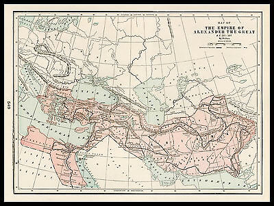 THE EMPIRE OF ALEXANDER THE GREAT 1901 antique lithograph Historical Map