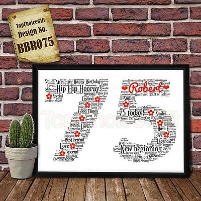 75th Birthday Personalised Present Print wordart greeting poster gift