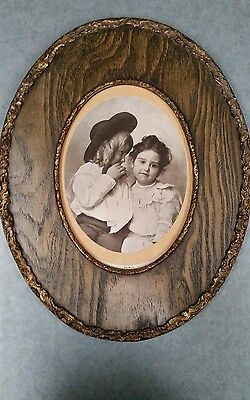 """Vintage Wood Oval Picture Frame Repro Print """"The Secret"""" 8x10 Opening Children"""