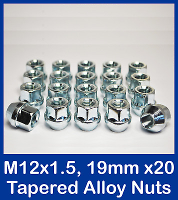 """Set of 20 x 1//2/"""" UNF Silver 19mm Hex Open Alloy Wheel Nuts Including Lockers"""
