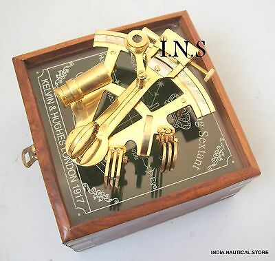 solid brass nautical sextant-ship sextant-Beautiful gift sextant with wooden box