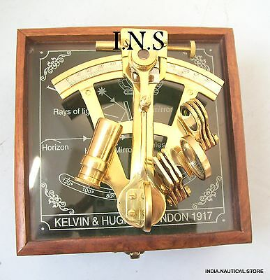 Handmade Solid Brass Maritime Sextant Nautical Collectible Vintage Wooden Box