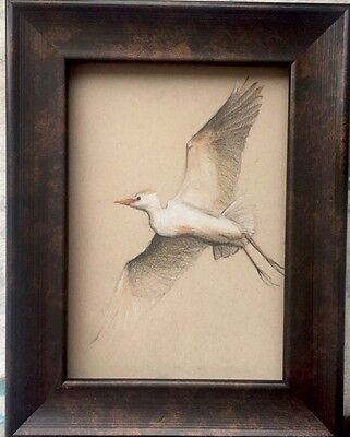 Original Pastel Drawing Of Egret Signed And Dated