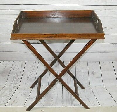 Antique Victorian Mahogany Butlers Gallery Serving Tray Fret Handles with Stand