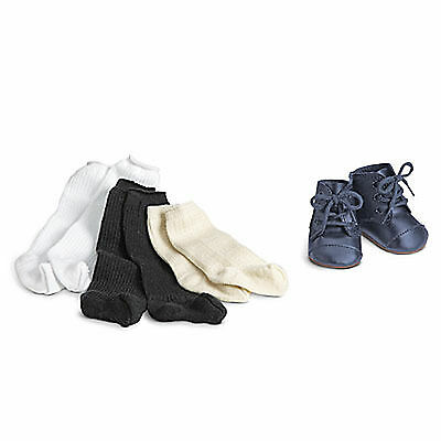 "American Girl ADDY SHOES & SOCKS for 18"" Doll Cream Laces Navy Retired Boots NEW"