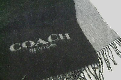 "Coach 86542 WOOL CASHMERE  Bi-Color Black Charcoal Gray 12"" x 70"" Long Scarf"