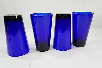 "Libbey Glasses, 4 Libbey,  Cobalt Blue Glass, 5 7/8"" H,  Flared Glass Tumblers"