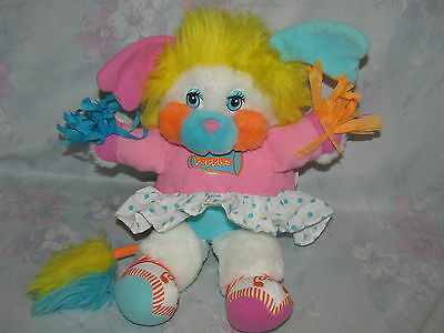 Vintage Cheerleader Popple - Puffball - Pink, Blue Outfit - Pom Poms - 11""