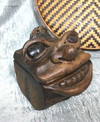 Vintage Carved Wooden Box Man Laughing Black Face Primitive Americana Folk Art