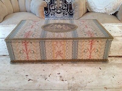 Large Antique French Fabric Covered Box