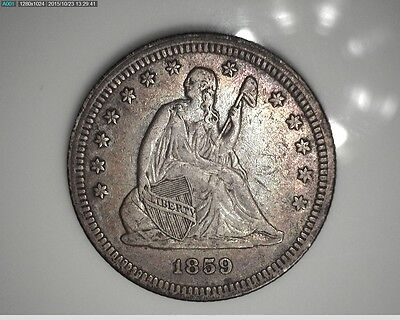 1859-P Seated Liberty Quarter Uncertified Ungraded Raw Coin High Grade Rainbow