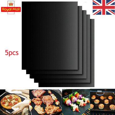 UK 5x BBQ Grill Mat Reusable Resistant  Non-Stick Grilling Mats As Seen On TV