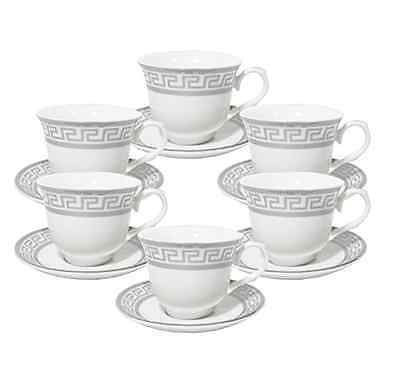 Italian Style Silver Greek Key Design  Tea Cup/Saucer Set For 6 Persons - 12 pcs