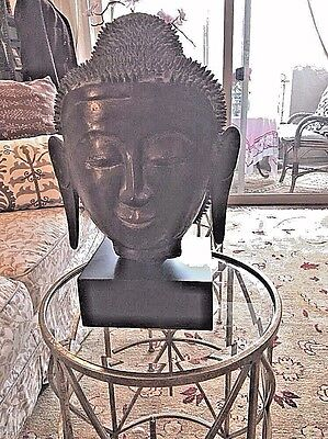Vintage  Buddha Head w/ Stand( Rubbed With Gold )19' Tall so Zen, So beautiful