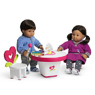 """American Girl BT BITTY TWIN ART & MUSIC PLAY TABLE Chairs for 15"""" Baby Dolls NEW"""