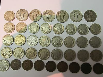 Coin Lot Standing Liberty Quarters + Indian Head Pennies + Buffalo Nickels SEE