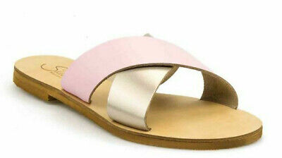 ANCIENT GREEK STYLE SANDALS Womens Genuine Slide Leather Handmade Roman Shoes