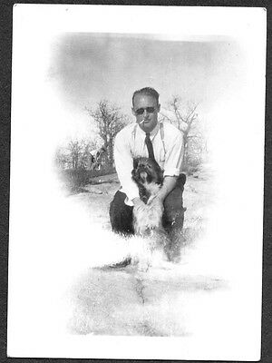 Vintage Photograph 1936 Man Stray Big Dog Puppy Lac Du Bonnet Canada Old Photo