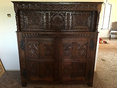 Old English Antique  Oak Court Cupboard