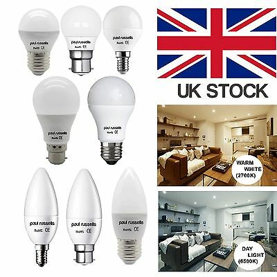 3 Pack GLS Candle Golf LED Light Bulb B22 E27 E14 DAY WARM White Lamps