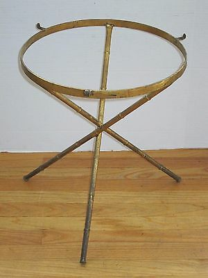 Vtg Mid Century Modern Hollywood Regency Round Brass Bamboo Glass Side End Table
